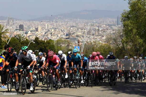 The peloton during the 100th Volta Ciclista a Catalunya 2021, Stage 7 a 133km stage from Barcelona to Barcelona / Public / Fans / Alt del Castell de...