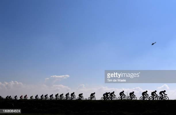 The Peloton during the 112th Milano-Sanremo 2021 a 299km race from Milano to Sanremo / Silhouette / Landscape / Helicopter / #MilanoSanremo / La...