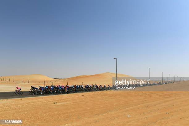 The Peloton during the 3rd UAE Tour 2021, Stage 1 a 176km stage from Al Dhafra Castle to Al Mirfa / Desert / Landscape / #UAETour / on February 21,...