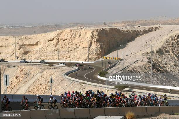 The peloton during the 3rd UAE Tour 2021, Stage 3 a 166km stage from Al Ain - Strata Manufacturing to Jebel Hafeet 1025m / Mountains / Jebel Hafeet /...