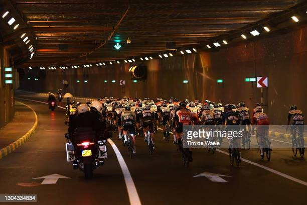 The peloton during the 3rd UAE Tour 2021, Stage 7 a 147km stage from Yas Mall to Abu Dhabi - Breakwater / Tunnel / Landscape / #UAETour / on February...