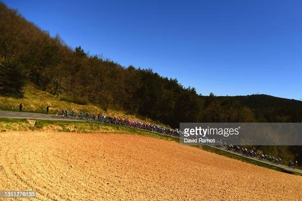The Peloton during the 60th Itzulia-Vuelta Ciclista Pais Vasco 2021, Stage 3 a 167,7km stage from Amurrio to Ermualde - Laudio 481m / Landscape /...