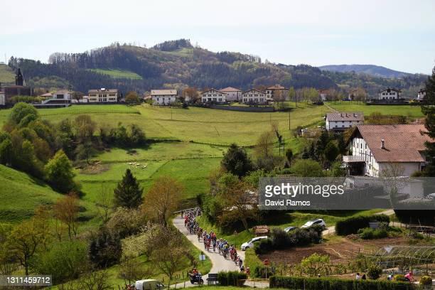 The peloton during the 60th Itzulia-Vuelta Ciclista Pais Vasco 2021, Stage 4 a 189,2km stage from Vitoria-Gasteiz to Hondarribia / Spring / Landscape...