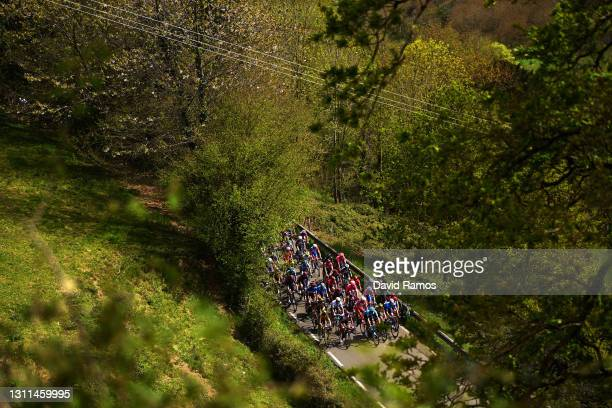 The peloton during the 60th Itzulia-Vuelta Ciclista Pais Vasco 2021, Stage 4 a 189,2km stage from Vitoria-Gasteiz to Hondarribia / Spring / Forest /...