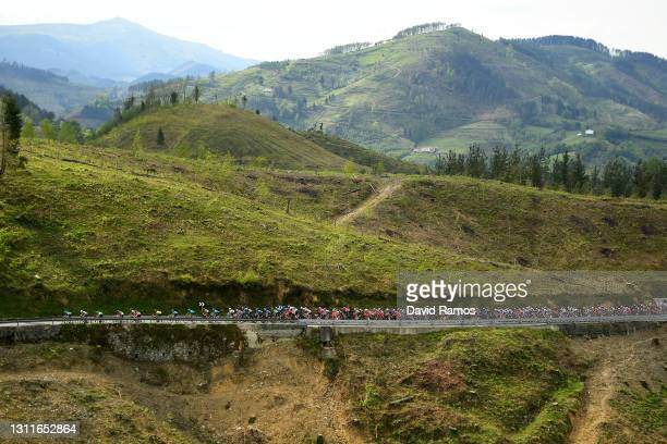 The Peloton during the 60th Itzulia-Vuelta Ciclista Pais Vasco 2021, Stage 5 a 160,2km stage from Hondarribia to Ondarroa / Landscape / Mountains /...