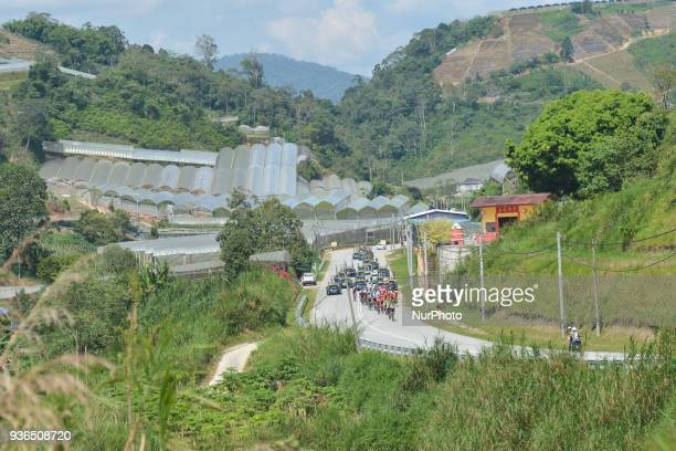 The peloton during the fifth stage the mountain stage of 1694km from Bentong to Cameron Highlands of the 2018 Le Tour de Langkawi On Thursday March...