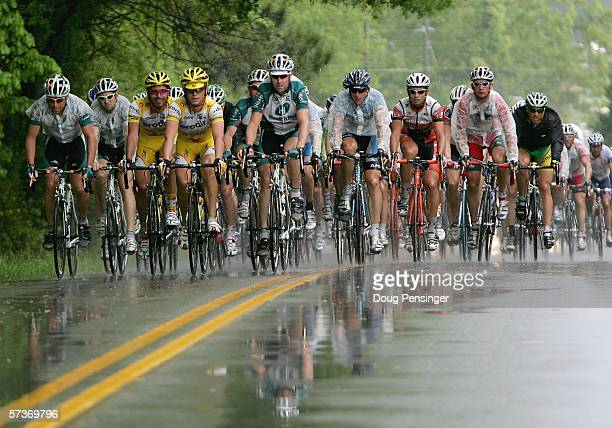 The peloton endures heavy skies and wet roads as they battle thunderstorms during Stage Two of the 2006 Tour de Georgia on April 19, 2006 from...