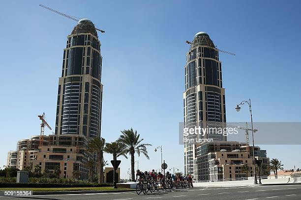 The peloton enters 'The Pearl' during stage two of the 2016 Tour of Qatar from Qatar University to Qatar Univeristy on February 9 2016 in Doha Qatar...