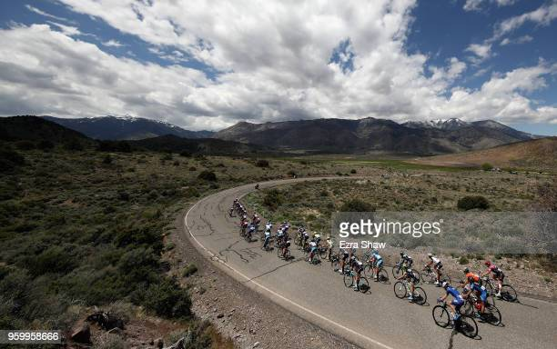 The peloton goes around a curve during Stage 2 of the Amgen Tour of California Women's Race Empowered with SRAM on May 18 2018 in South Lake Tahoe...