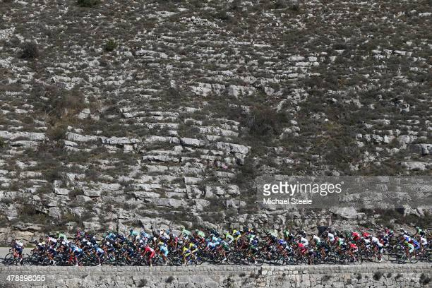 The peloton head up Col de Vence during stage 7 of the Paris-Nice race from Mougins to Biot Sophia Antipolis on March 15, 2014 in Mougins, France.