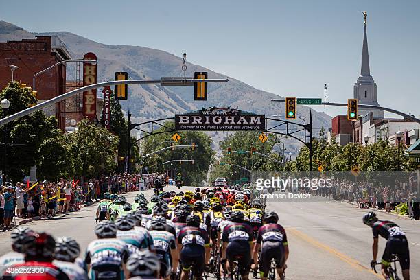 The peloton heads through the sprint line at Brigham during stage 2 of the Tour of Utah on August 4 2015 in Brigham Utah