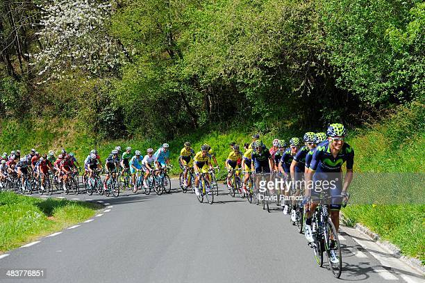 The Peloton heads up Alto de Ixua during Stage Four of Vuelta al Pais Vasco from VitoriaGasteiz to Eibar on April 10 2014 in Eibar Spain