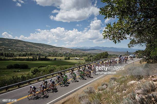 The peloton hits a descent during stage 7 of the Tour of Utah on August 9 2015 in Park City Utah