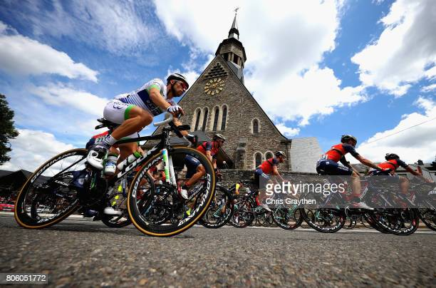 The peloton in action during stage 3 of the 2017 Tour de France a 2125km road stage from Verviers to Longwy on July 3 2017 in Longwy France