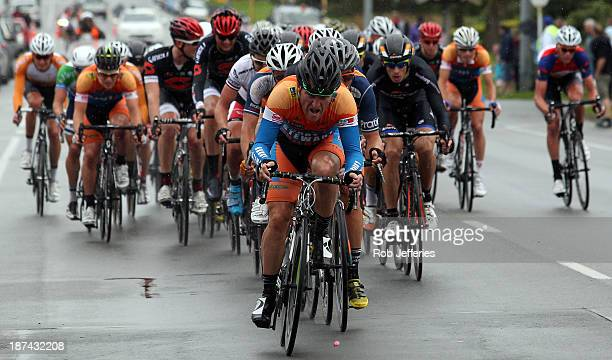 The peloton in action during Stage 7 of the 2013 Tour of Southland between Winton and Invercargill on November 9 2013 in Invercargill New Zealand