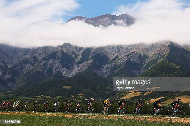 The peloton in action during Stage Eighteen of the 2015 Tour de France, a 186.5km stage between Gap and Saint-Jean-de-Maurienne on July 23, 2015 in...