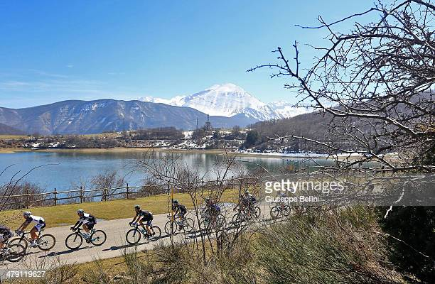 The peloton in action during stage five of the 2014 Tirreno Adriatico, a 192 km stage from Amatrice to Guardiagrele on March 16, 2014 in Italy.