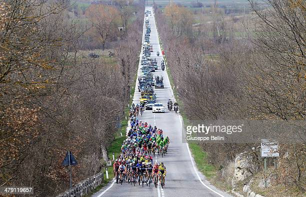 The peloton in action during stage five of the 2014 Tirreno Adriatico a 192 km stage from Amatrice to Guardiagrele on March 16 2014 in Italy