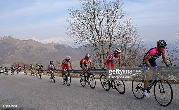The peloton in action during stage four of the 2014 Tirreno Adriatico a 244 km stage from Arezzo to Cittareale on March 15 2014 in Arezzo Italy