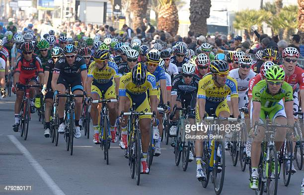 The peloton in action during stage six of the 2014 Tirreno Adriatico a 189 km stage from Bucchianico to Porto S Elpidio on March 17 2014 in...