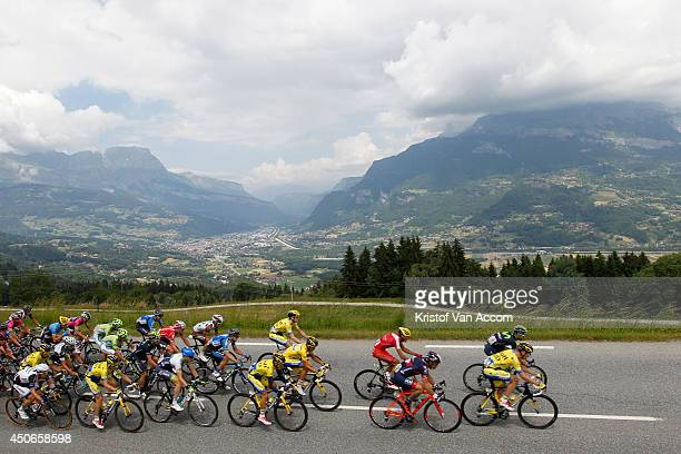 The peloton in action during the eighth stage of the Criterium du Dauphine on June 15, 2014 between Megeve and Courchevel, France.