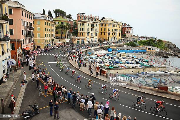 The peloton in action during the eleventh stage of the 2014 Giro d'Italia a 249km medium mountain stage between Collecchio and Savona on May 21 2014...