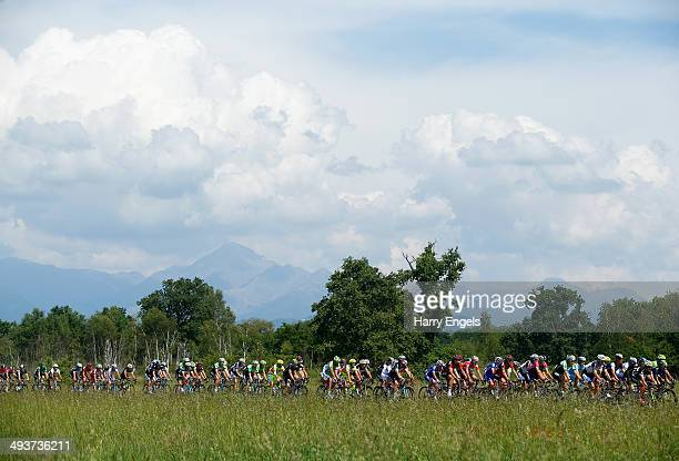 The peloton in action during the fifteenth stage of the 2014 Giro d'Italia a 225km high mountain stage between Valdengo and Plan di Montecampione on...