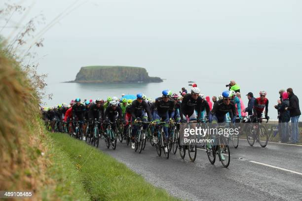 The peloton in action during the second stage of the 2014 Giro d'Italia a 219km flat road stage on May 10 2014 in Belfast Northern Ireland