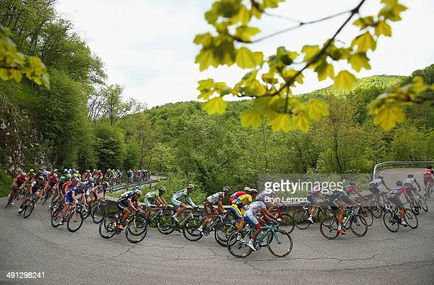 The peloton in action during the seventh stage of the 2014 Giro d'Italia a 211 km stage between Frosinone and Foligno on May 16 2014 in Frosinone...