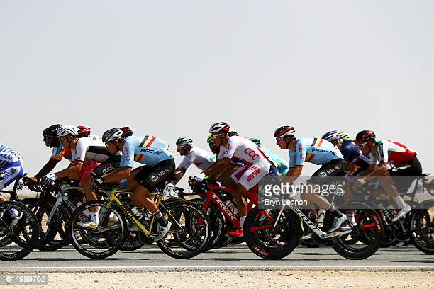 The peloton, including Greg Van Avermaet of Belgium, makes its way through the desert during the Elite Men's Road Race on day eight of the UCI Road...