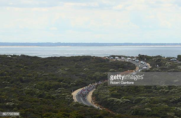 The peloton is seen at Bells Beach during the Elite Men's Road Race at the 2016 Cadel Evans Great Ocean Road Race on January 31 2016 in Geelong...