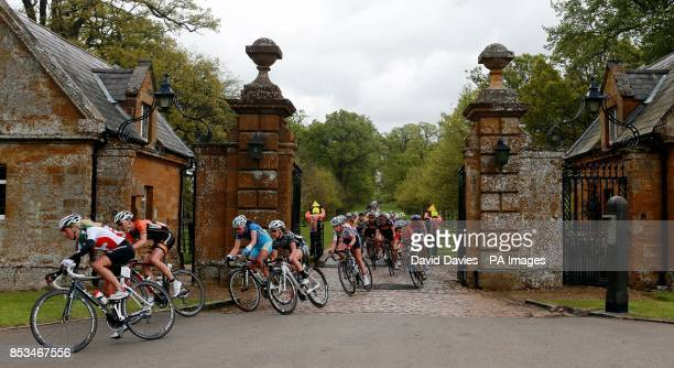The Peloton leaves Althorp House estate during Stage One of the 2014 Women's Tour Of Britain in Northamptonshire