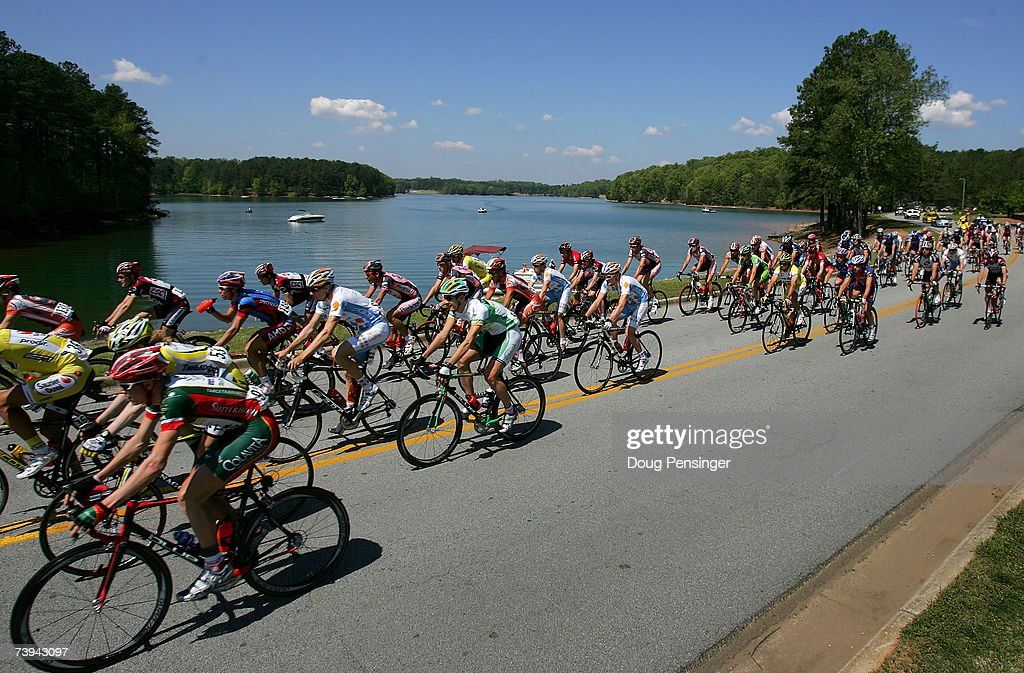 The peloton leaves Lake Lanier Islands as they commence