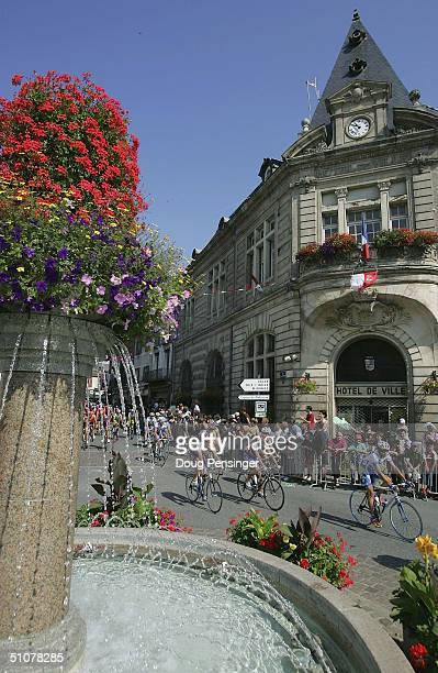 The peloton leaves Lannemezan during stage 13 of the Tour de France on July 17 2004 from Lannemezan to Plateau de Beille France