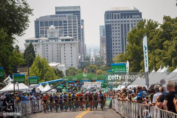 The peloton leaves the start line for stage 4 of the 14th Larry H Miller Tour of Utah on August 10 2018 in Salt Lake City Utah
