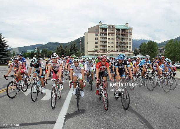The peloton leaves the town of Avon during stage four of the 2011 USA Pro Cycling Challenge from Avon to Steamboat Springs on August 26 2011 in Avon...