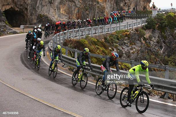 The peloton make it's way towards Sanremo during the 2015 Milan-Sanremo race, a 293km road race from Milan to Sanremo on March 22, 2015 in San Remo,...