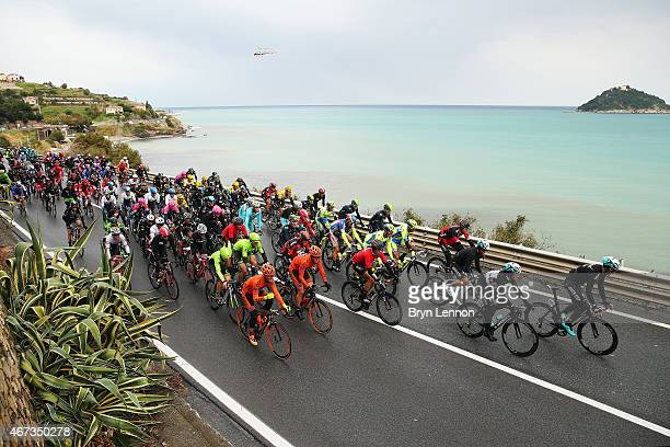 The peloton make it's way towards Sanremo during the 2015 MilanSanremo race a 293km road race from Milan to Sanremo on March 22 2015 in San Remo Italy