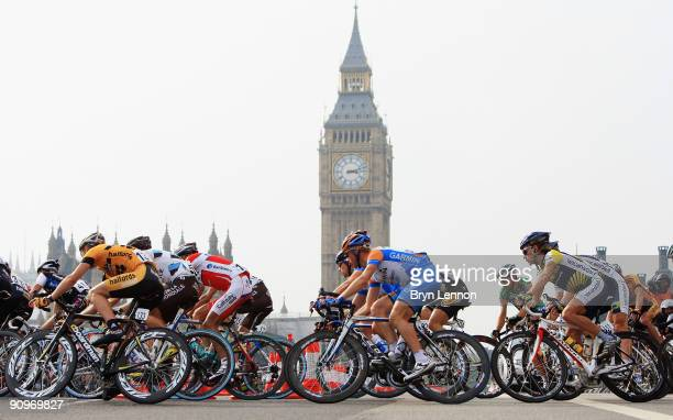 The peloton make their way round the streets of Westminster during stage eight of the 2009 Tour of Britain a criterium race around central London on...