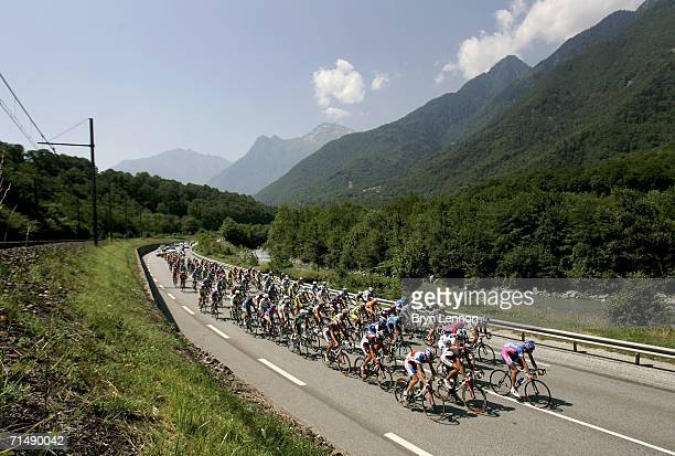 The peloton make their way through the French countryside during Stage 17 of the 93rd Tour de France between Saint-Jean-de-Maurienne and...