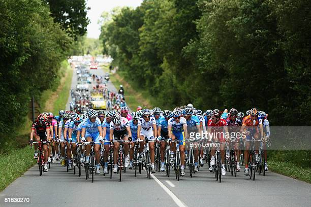 The peloton make their way through the French countryside during stage one of the 2008 Tour de France from Brest to Plumelec on July 5 2008 in...