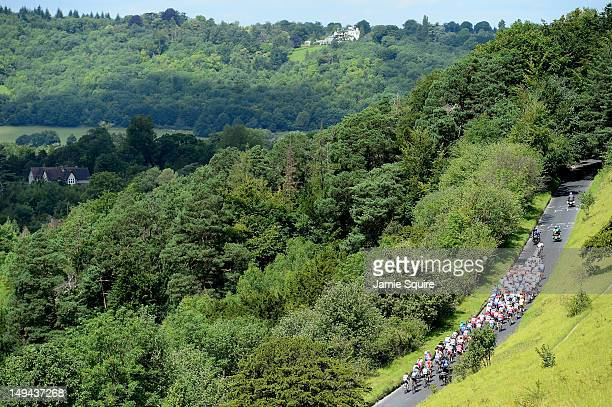 The peloton make their way up Box Hill during the Men's Road Race Road Cycling on day 1 of the London 2012 Olympic Games on July 28, 2012 in London,...