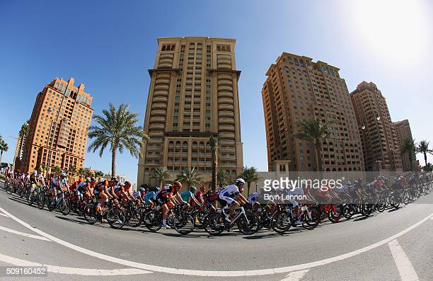 The peloton makes it way around the World Road Race Championship Circuit during stage two of the 2016 Tour of Qatar from Qatar University to Qatar...
