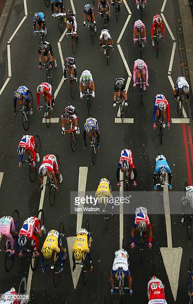 The peloton makes it way through the streets of London on stage 1 of the Tour of Britain on September 7 2008 in London England