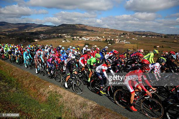 The peloton makes its way through Stage Four of the 2016 ParisNice a 1935 km stage from Julienas to RomanssurIsere on March 10 2016 in Julienas France