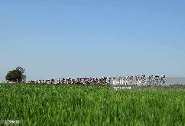 The peloton makes it's way through the Belgian countryside during the 75th La Fleche Wallonne 2011 Cycle Race from Charleroi to Huy on April 20 2011...