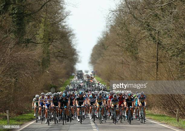 The peloton makes it's way through the Belgian Countryside during the 77th edition of La Fleche Wallonne cycle race from Binche to Huy on April 17...