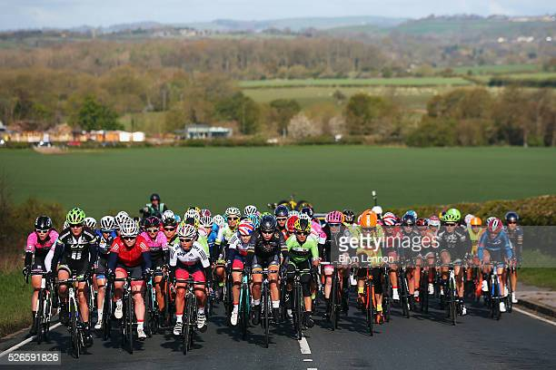The peloton makes it's way through the Yorkshire countyside during the inaugural Women's Tour de Yorkshire between Otley and Doncaster on April 30...