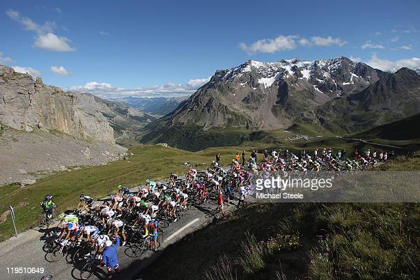The peloton makes its way to the summit of Galibier during Stage 18 of the 2011 Tour de France from Pinerolo to Galibier Serre-Chevalier on July 21,...