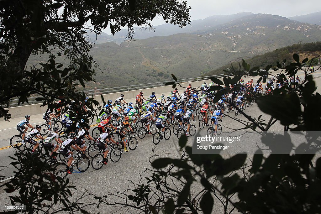 The peloton makes the climb of San Marcos Pass during Stage Five of the 2013 Amgen Tour of California from Santa Barbara to Avila Beach on May 16, 2013 in Santa Barbara, California.